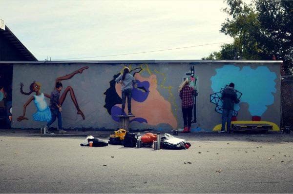 Studenter på graffitiutflykt
